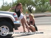 Awesome Lesbian sex in public