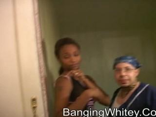 Black slut getting fucked and creamed by whitey boy