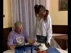 Young Sweet Cutie Chick In Pigtails Gets A Good Boinking From An Old Geezer