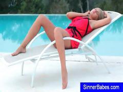 Cute Little Blonde Teen Is By The Pool And Strips And Poses