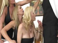 Blonde Milfs Suck Off Waiter In Restaurant