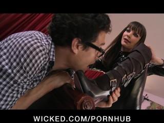 Horny dominant brunette Dana Dearmond fucks her assistant s cock