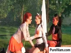 Crazy Lesbian Chicks On A Tennis Court Getting All Wet Rubbing Bodies