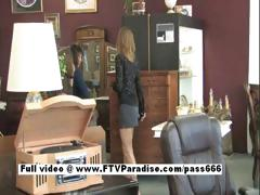 Brittni Superb Blonde Babe In A Antique Shop