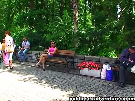 Stylish chick in outdoor sex session