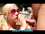 Stunning busty blonde teen sun bathes nude to seduce the poolboy