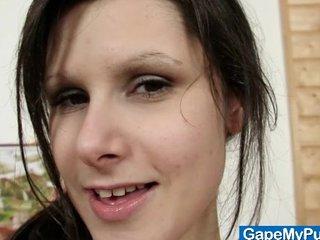 Karen pussy wide gaping and pussy fingering closeups