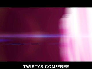 Flirty British brunette Kimmy Haze masturbates for the cam
