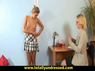 Blonde Secretary Gets Undressed And Interviewed With Toys