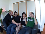 French brunette gangbang with three guys