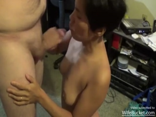 Amateur Asian Milf Giving Head In The Living Room