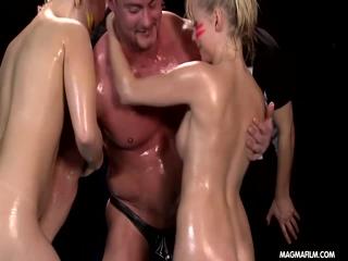MIA MAGMA Threesome Oil Fight