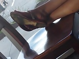 Candid Legs Feet in Flip Flops at Coffee Shop
