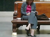 Candid Shoeplay Seated Dipping at Trian Station Feet Face
