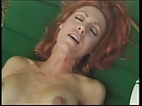 Redheaded cock sucker with great tits gets doggy style plowing outside