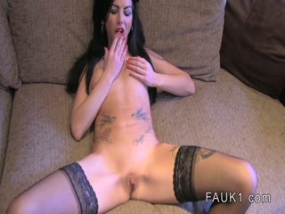 British amateur in stockings bangs