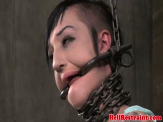 Kinky petite tattood bdsm sub tied up