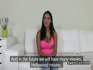 Huge tits amateur bangs on casting