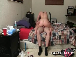 Sexy brunette humping dick in dorm room bed