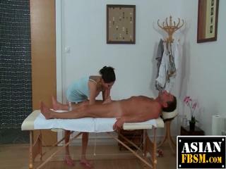 Horny Asian Slut Sucks Client Rod