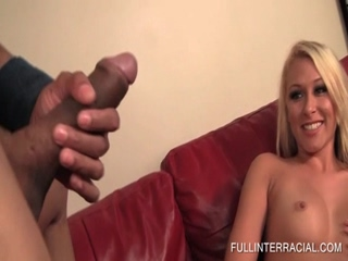 Blonde rubbing snatch and sucking black cock