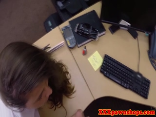 Pawnshop amateur with booty bent over desk