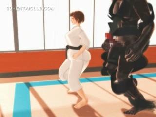 Hentai karate cutie gagging on a massive dick in 3d