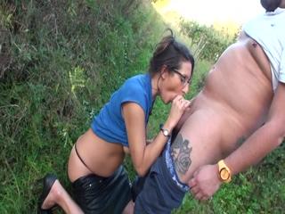 Hot brunette Chloe whith glasses anal fucked outside