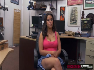 Horny broke slut Nina fucks for cash in the pawnshop