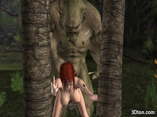 Elf fucked by green troll