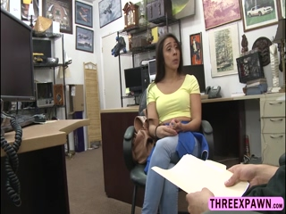 Brunette Lilly Hall bends over and rides a hard shaft