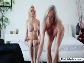 Slutty MILF Alexis scissors Brandi joyfully on their bed