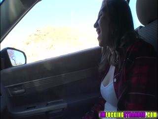 Brunette roundass Hayden fucks outdoors