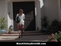 Beautiful Ebony Teen Harley Dean Tries A Big White Cock