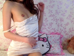 Asian Teen Plays With Toys On Webcam