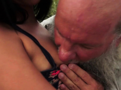 Cocksucking Teen Pleased Old Guy Outdoors