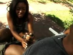 Ebony Teen Strokes White Dick