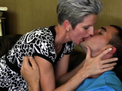 Big Tit Mature Amateur Tugging On Cock For Lucky Guy
