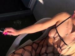 German Skinny Blonde Public At Balcony