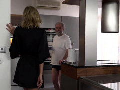 Grey-haired Dad And His Teen Blonde Wife Make Amazing Love