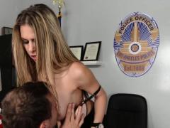 Dirty Cop Fucks Cock Across Her Desk