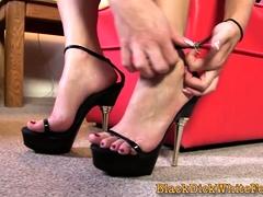Ho Gets Bbc Cum On Feet