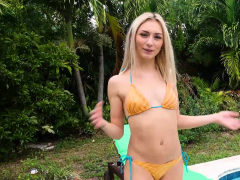 Slipping Into Her New, Sexy Bikini, Barely Legal, Blonde