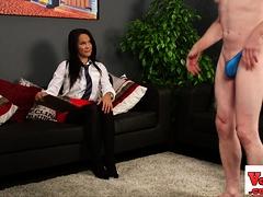 Naughty Stockinged Babe Dominates Dick