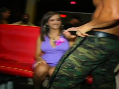 Sexy Honey In A Green Sucks Knob At A Party