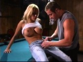 Awesome brunette and blonde fucking near a pool