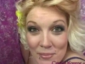 Big titted Candy Monroe gets the jizz over her body