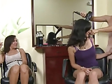 girls get a suprise at the beauty shop